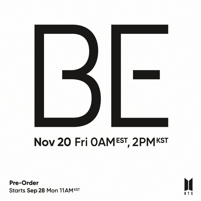nouvel album de BTS le 20 novembre 2020: BE