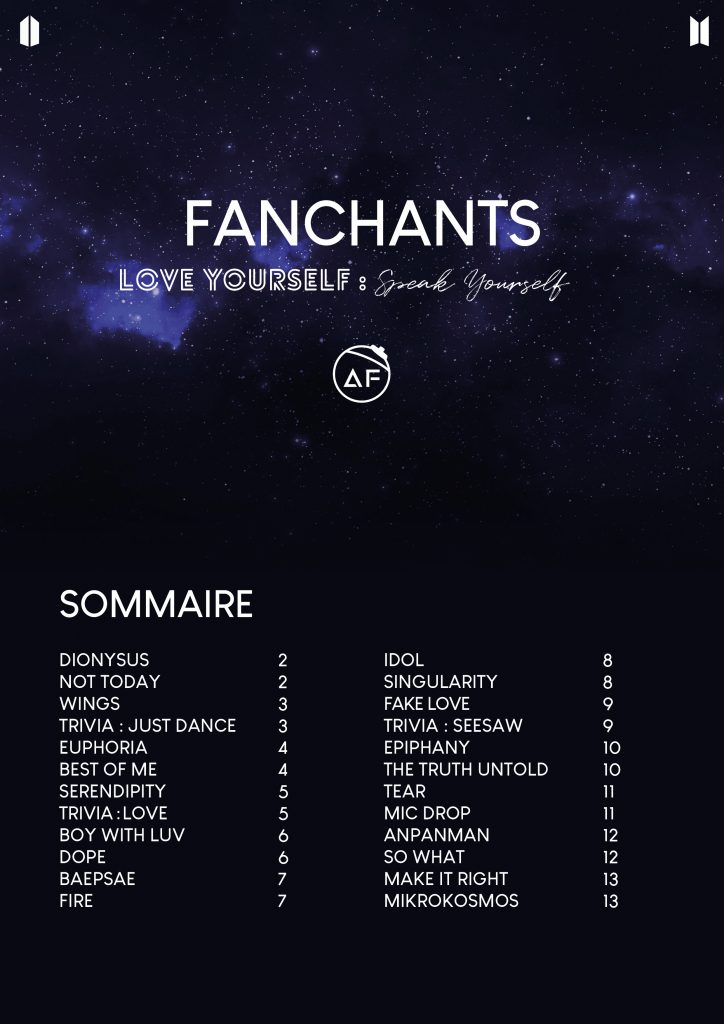 liste des fanchants de la tournée Speak Yourself
