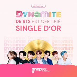 certification Dynamite disque d'or